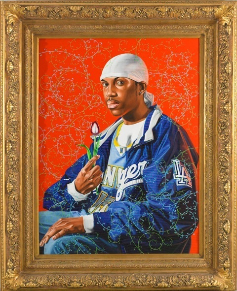 Kehinde Wiley.  Portrait of Simon George II, 2007.  Oil on canvas. Dimensions: 72 x 60 in (182.9 x 152.4 cm). Courtesy of Artsy.net. 2017.