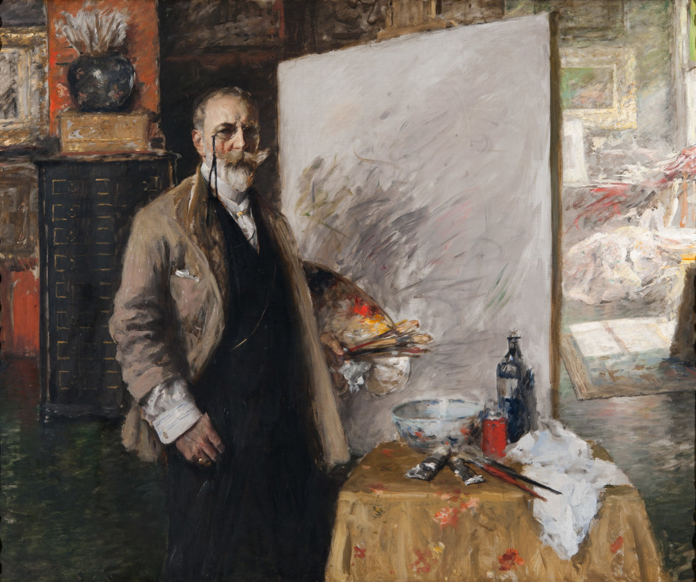 William Merritt Chase,  Self Portrait in 4th Avenue Studio , 1849-1916, 133.35 × 161.29 cm (52.5 × 63.5 in), Richmond Art Museum.  http://richmondartmuseum.org/portfolio/self-portrait-in-4th-avenue-studio/