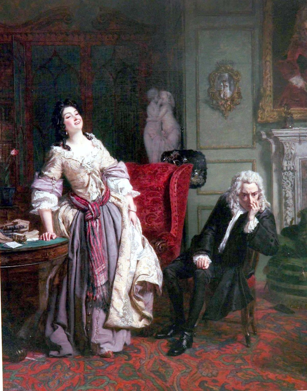 William Powell Frith,  Pope makes love to Lady Mary Montague, 1851, oil on canvas,Aukland City Art Gallery, New Zealand.   https://commons.wikimedia.org/wiki/File:18firth_Pope.jpg