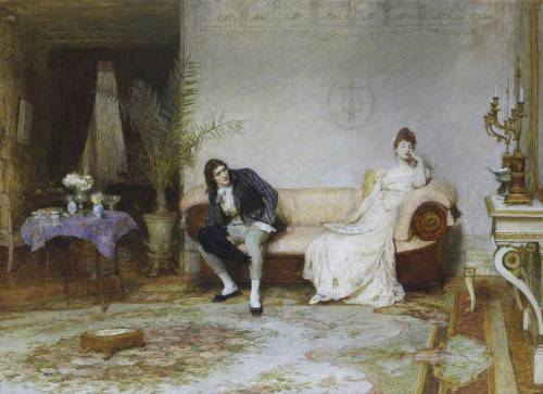 Sir William Quiller Orchardson,  An Enigma,  1891, oil on canvas, Kirkaldy Museum and Art Gallery, Scotland.   http://the-garden-of-delights.tumblr.com/post/53030728691