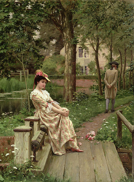 Edmund Blair Leighton,  Off, 1899,32.7 × 24.8 cm,oil on panel. Manchester Art Gallery, England.   https://commons.wikimedia.org/wiki/File:Leighton,_Edmund_Blair_-_Off_-_1899.jpg
