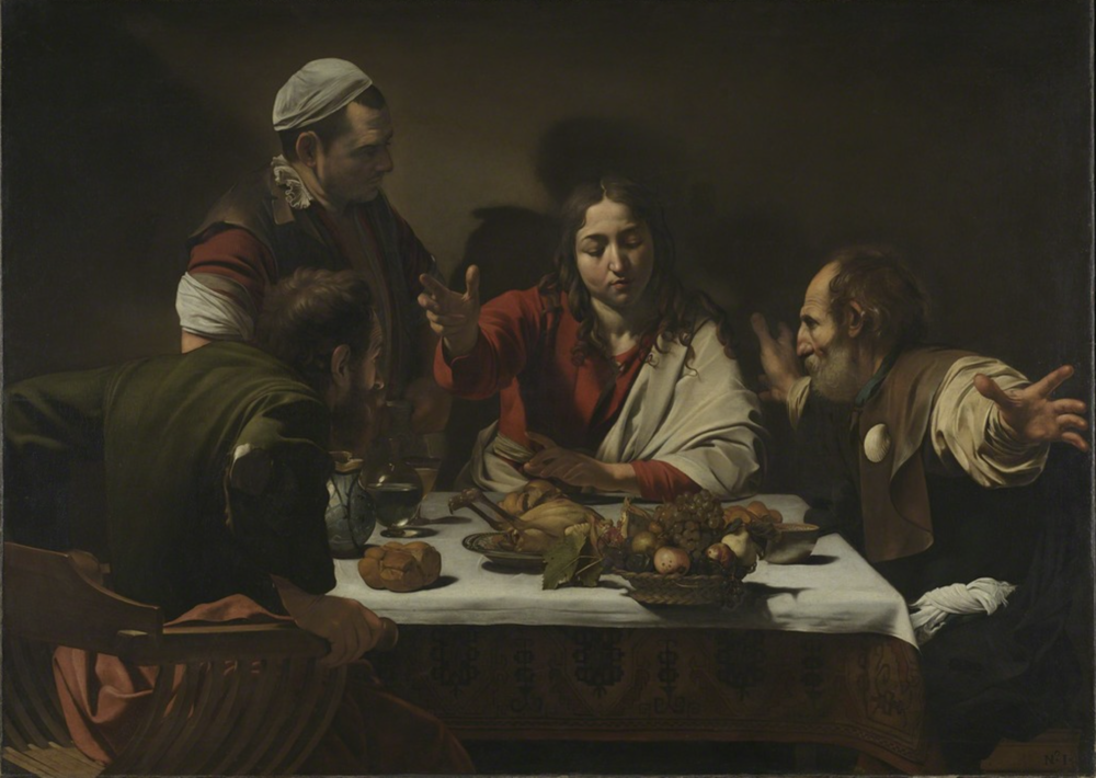 Caravaggio,  The Supper at Emmaus,  1601, oil on canvas, 55.5 x 77.5 in (141 x 196.2cm). Courtesy of  artsy.net , 2017.