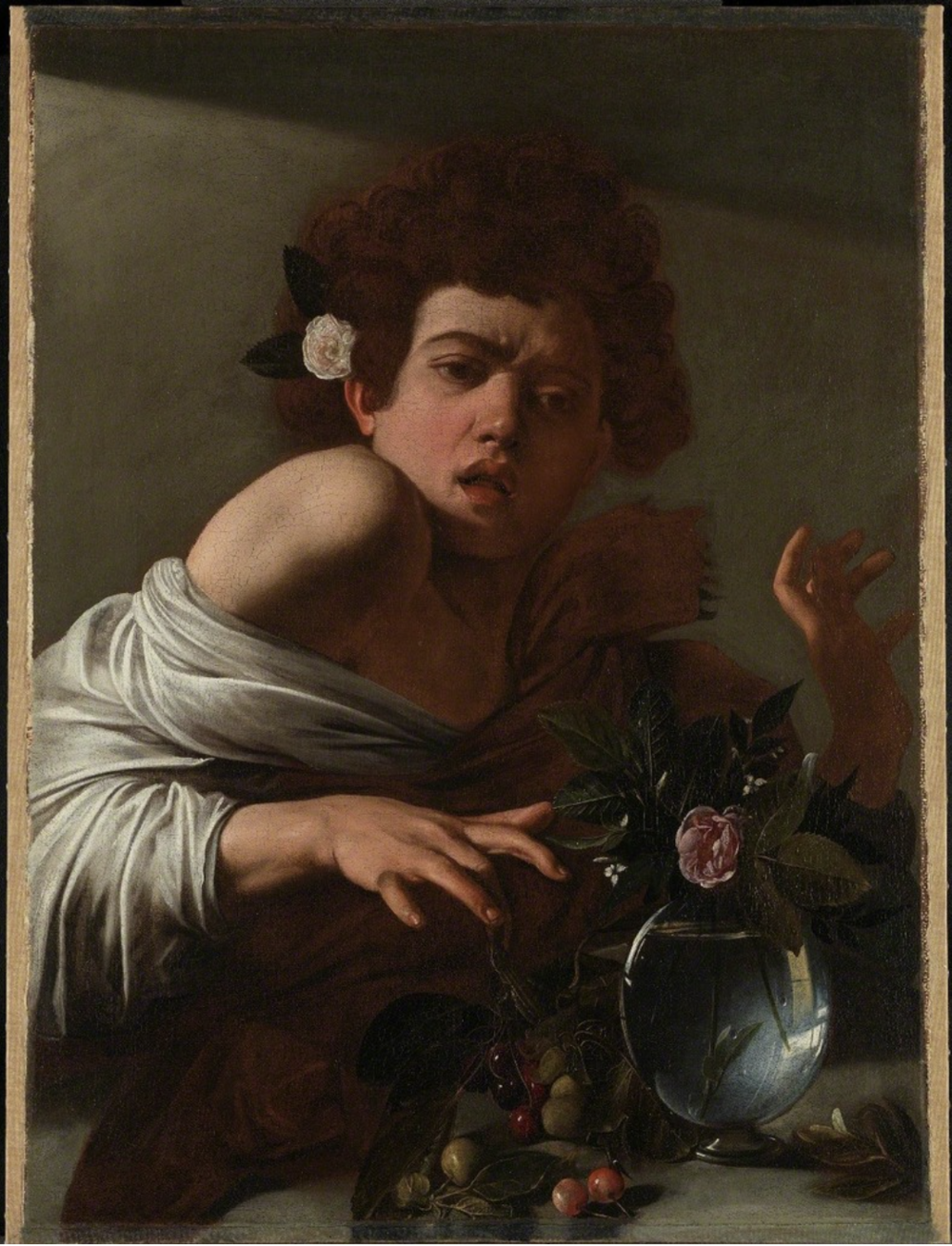Caravaggio,  Boy Bitten by Lizard,  1594-1595, oil on canvas, 26 x 19.5in (66 x 49.5cm). Courtesy of     artsy.net   .2017.