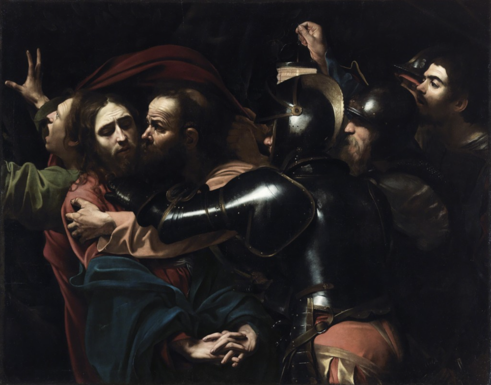 Caravggio,  The Taking of Christ,  1602, oil on canvas, 52.6 x 66.7in (133.5 x 169.5cm). Courtesy of  artsy.net . 2017.