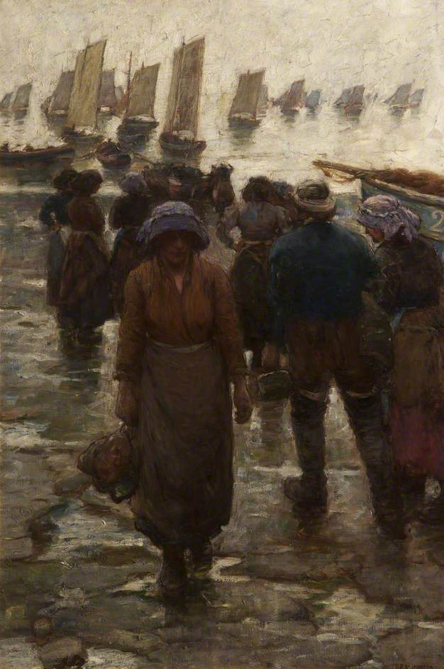 Laura Knight,  The Fishing Fleet,  1900, oil on canvas, 123x84 cm, Bolton Museum and Art Gallery.   https://artuk.org/discover/artworks/the-fishing-fleet-163691#image-use