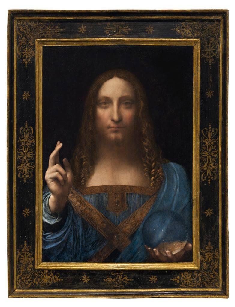 Leonardo da Vinci, Salvator Mundi .Oil on walnut panel. Panel dimensions: 25 13/16 x 17 15/16 in (64.5 x 45.1 cm) top; 17¾ in (45.6 cm) bottom; Painted image dimensions: 15⅜ x 17½ in (64.5 x 44.7 cm).Courtesy of Christie's Images Ltd. 2017.