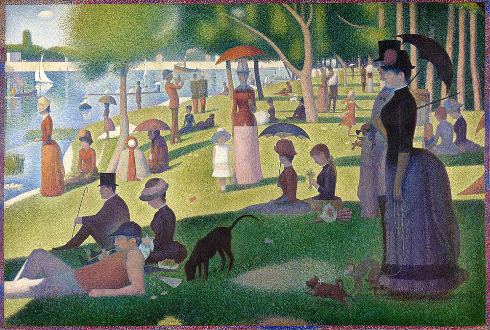 Georges Seurat,  A Sunday Afternoon on the Island of Le Grande Jatte , 1884-1886, 207.6 cm x 308 cm, Art Institute of Chicago  http://totallyhistory.com/wp-content/uploads/2011/12/A-Sunday-Afternoon-on-the-Island-of-La-Grande-Jatte.jpg