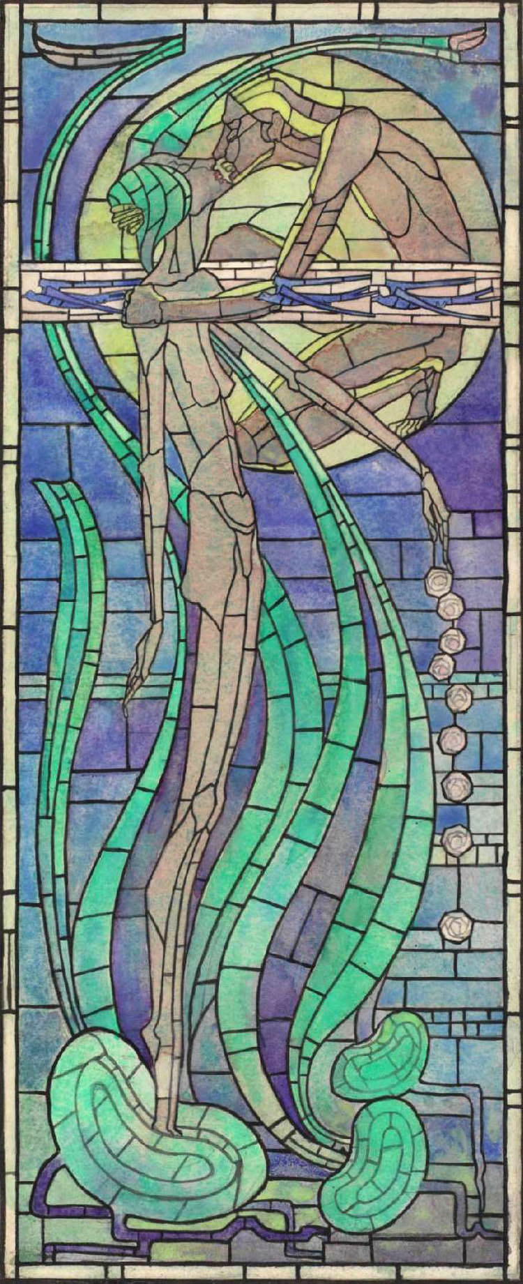Margaret Macdonald Mackintosh,  Summer , 1894, watercolour with pen, pencil and ink on paper, 51.5 x 21.6 cm, Hunterian Art Gallery, Glasgow.   http://www.huntsearch.gla.ac.uk/cgi-bin/foxweb/huntsearch_Mackintosh/DetailedResults.fwx?SearchTerm=41047&reqMethod=Link