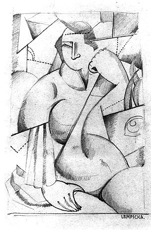 Tamara de Lempicka,  Seated Woman, Cubist , 1922, crayon on paper, 18.5 x 13 cm, Collection of Anna Gardner Luce.  http://www.delempicka.org/artwork/1918-1922.html