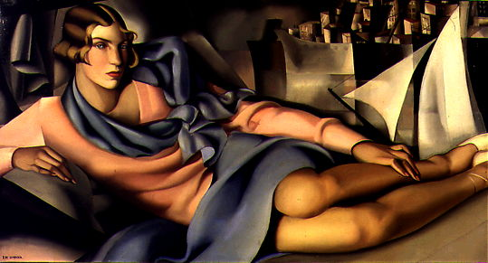 Tamara de Lempicka,  Portrait of Arlette Boucard , 1928, oil on canvas, 70 x 130 cm, private collection.   http://www.delempicka.org/artwork/1927-1929.html