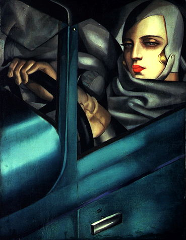 Tamara de Lempicka,  Autoportrait (Tamara in the Green Bugatti) , 1929, oil on wood panel, 35 x 27 cm, private collection.   http://www.delempicka.org/artwork/1927-1929.html