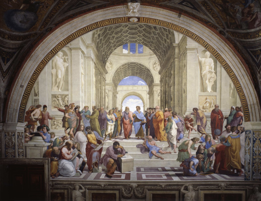 Raphael,  School of Athens,  1509-11, fresco, Vatican Museum. Image courtesy of Vatican Museum
