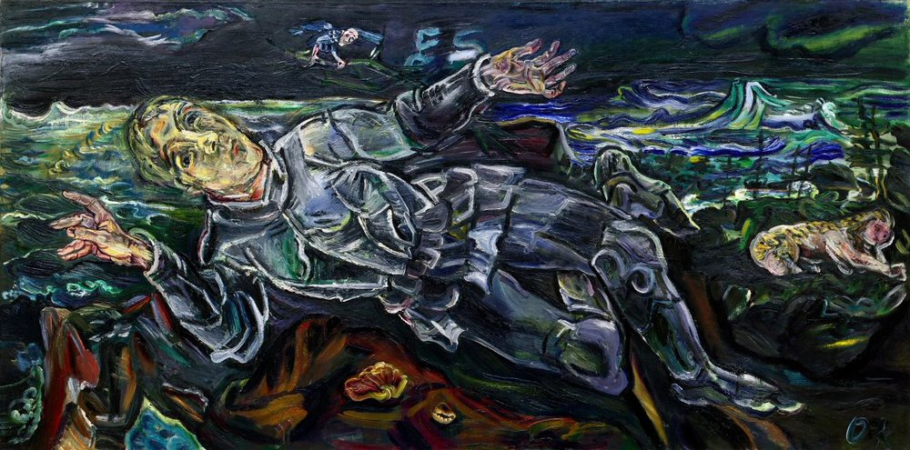 Oscar Kokoschka,  Knight Errant  (1915) Oil on canvas, 35 1/4 x 70 7/8 inches (89.5 x 180 cm) Image source: 'Knight Errant', Guggenheim,  https://www.guggenheim.org/artwork/2224
