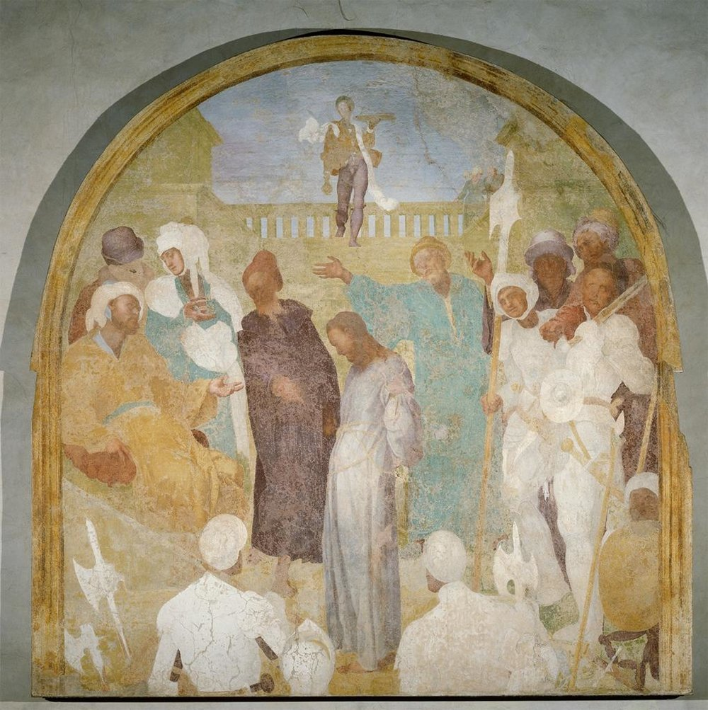 Jacopo Pontormo,  Christ Standing Before Pilate , 1523-25, Fresco, 300 x 292 cm, displayed in the chapterhouse of Certosa del Galluzzo, Florence. Image from ARTSTOR.   https://library-artstor-org.ezproxy.st-andrews.ac.uk/#/asset/SCALA_ARCHIVES_1039778998