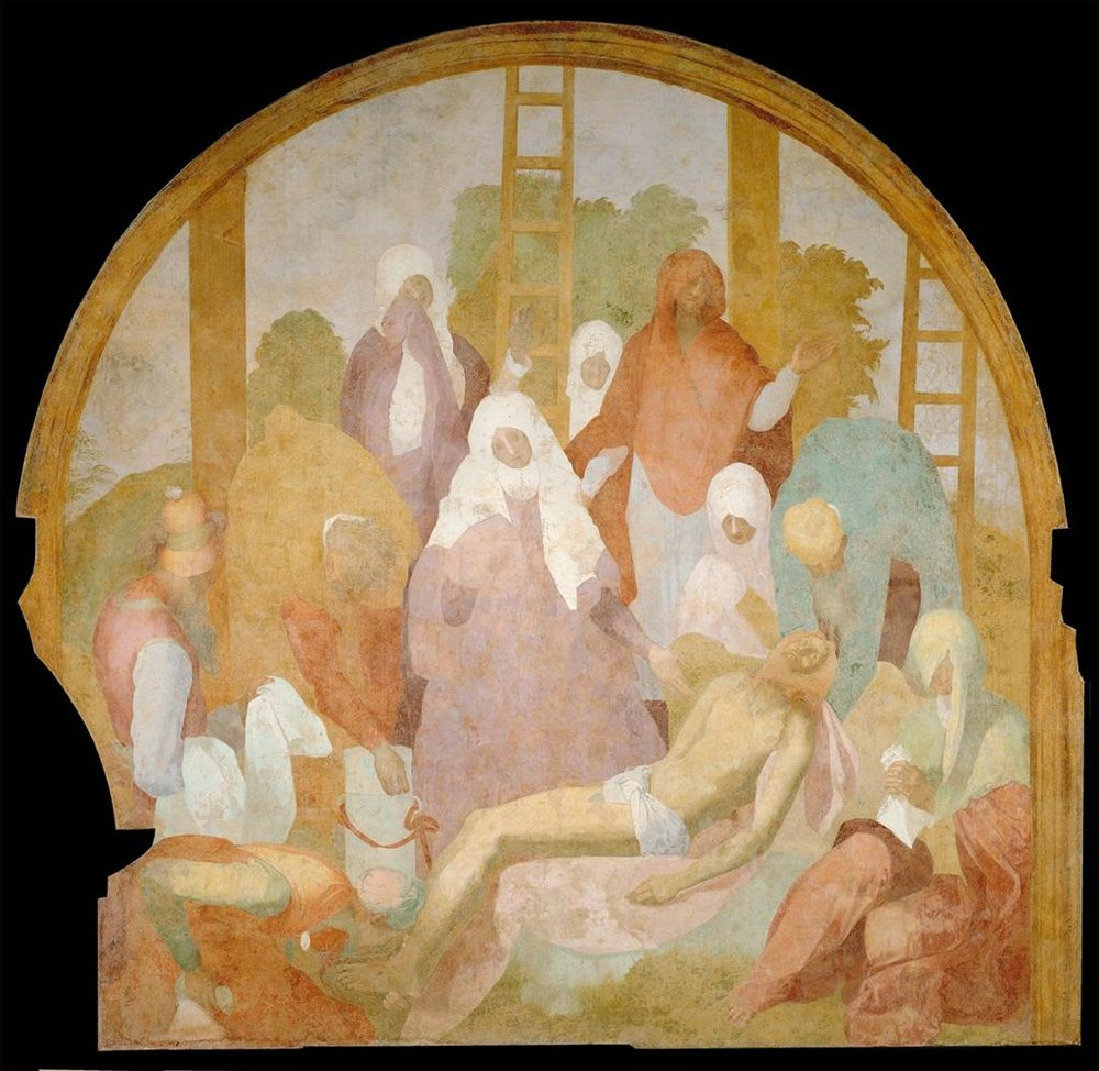 Jacopo Pontormo,  Lamentation , 1523-25, Fresco, 300 x 292 cm, displayed in the chapterhouse of Certosa del Galluzzo, Florence. Image from ARTSTOR.   https://library-artstor-org.ezproxy.st-andrews.ac.uk/#/asset/SCALA_ARCHIVES_1039778999
