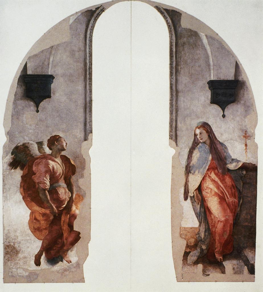 Jacopo Pontormo,  Annunciation , 1527-28, Fresco, 368 x 168 cm, Santa Felictà, Capella Capponi, Florence. Image from ARTSTOR.   https://library-artstor-org.ezproxy.st-andrews.ac.uk/#/asset/ARTSTOR_103_41822000620912