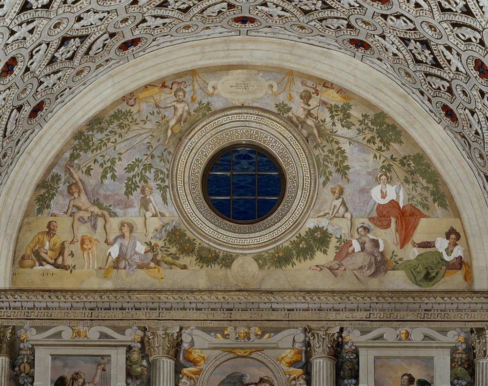 Jacopo Pontormo,  Vertumnus and Pomona,  1519-1521, Fresco, 461 x 990 cm, Villa Medicea, Poggio a Caiano. Image from ARTSTOR.   https://library-artstor-org.ezproxy.st-andrews.ac.uk/#/asset/SCALA_ARCHIVES_10310197806