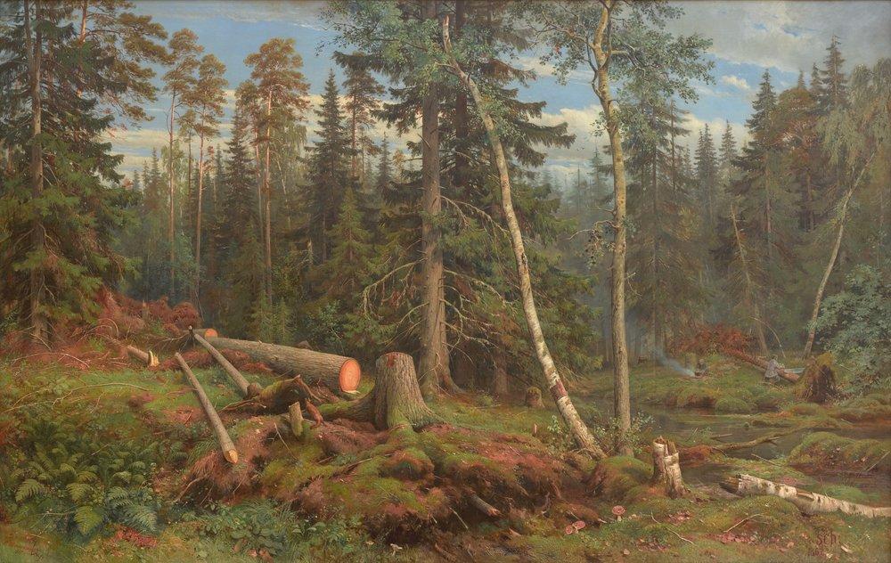 Ivan Shishkin,  Felling Trees,  1863, Oil on Canvas. 125 х 196.5. Tretyakov Gallery, Moscow  https://www.tretyakovgallery.ru/en/collection/rubka-lesa/