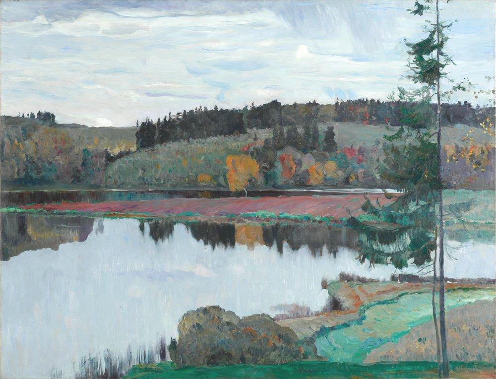 Mikhail Nesterov, Autumn Landscape (1906) Oil on canvas. 102 х 134cm. Tretyakov Gallery, Moscow.  https://www.tretyakovgallery.ru/en/collection/osenniy-peyzazh/