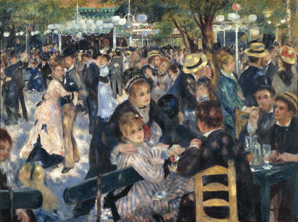 Pierre-Auguste Renoir, Bal du Moulin de la Galette, 1876.  http://allart.biz/up/photos/album/R/Pierre-Auguste%20Renoir/pierre_auguste_renoir_1_bal_du_moulin_de_la_galette.jpg