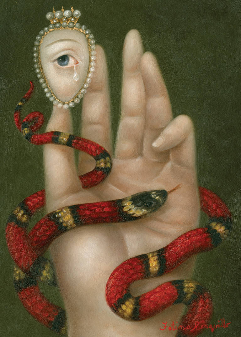Fatima Ronquillo,  Hand With Snake and Weeping Eye , 2016, Oil on panel, 7 x 5 inches  https://fatimaronquillo.com/portfolio/hand-with-snake-and-weeping-eye/