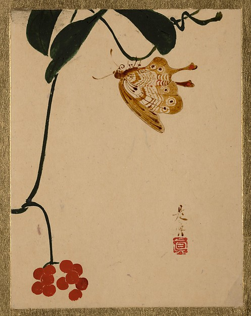 Shibata Zeshin, Red Berry Plant and Butterfly, Edo Period, lacquer on paper.