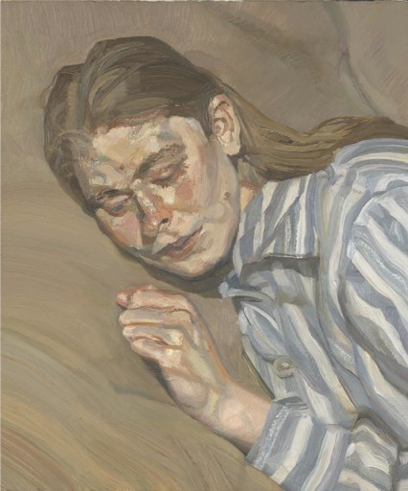 Lucien Freud,  Girl in a Striped Nightshirt,  1983-85. SOURCE:  The New York Times.