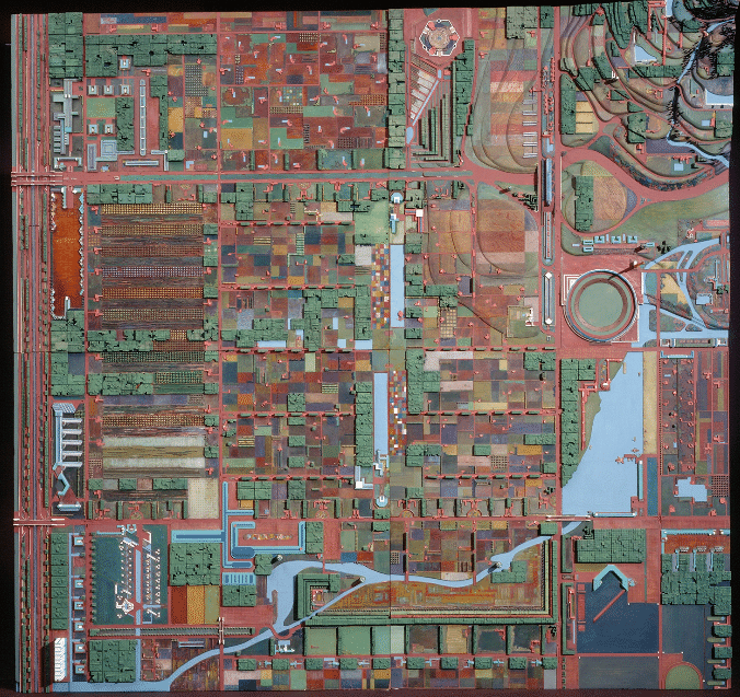 Frank Lloyd Wright, Model of Broadacre City. https://www.citylab.com/design/2012/11/evolution-urban-planning-10-diagrams/3851/