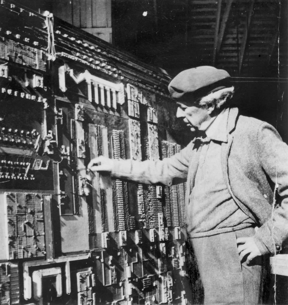 Frank Lloyd Wright Inspecting the Model of Broadacre City.  http://franklloydwright.org/revisiting-frank-lloyd-wrights-vision-broadacre-city/