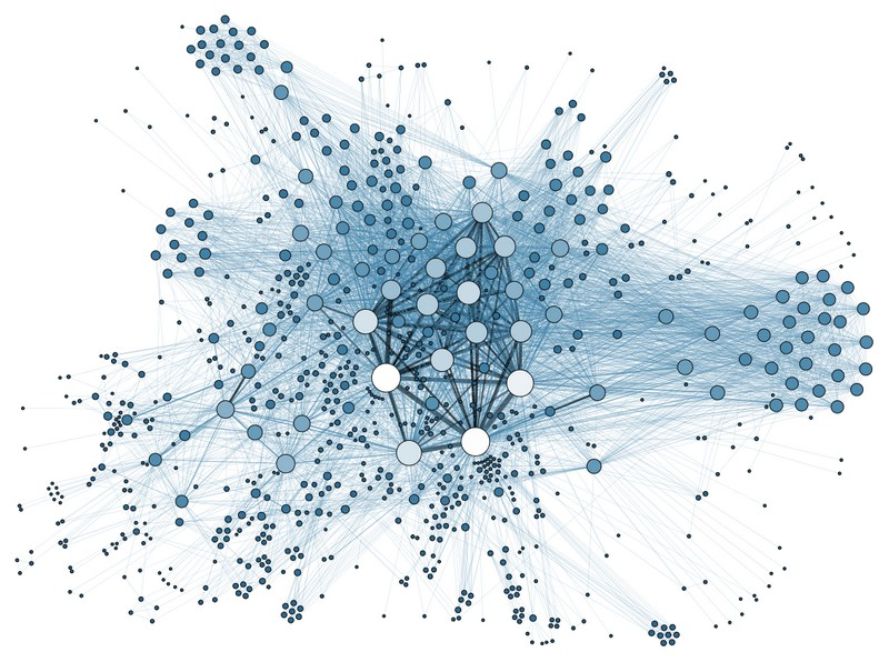 Martin Grandjean, untitled vector illustration of a network visualisation. Image Source:  https://www.interaction-design.org/literature/article/how-to-display-complex-network-data-with-information-visualization