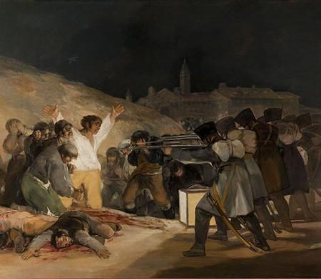 Francisco de Goya,  Third of May 1808 , 1814, 2.68m x 3.47m, Oil on Canvas, Museo Del Prado, Madrid http://www.visual-arts-cork.com/images-paintings/goya-third-may.jpg