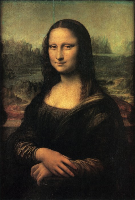 Leonardo da Vinci,  Mona Lisa;  Portrait of Lisa Gherardini, wife of Francesco del Giocondo, c. 1503-7. Oil on panel, 77x53cm. The Louvre, Paris. Image: St Andrews Image database. https://imagedatabase.st-andrews.ac.uk/images/viewimage.php?id=4E9PWCcf5-g=