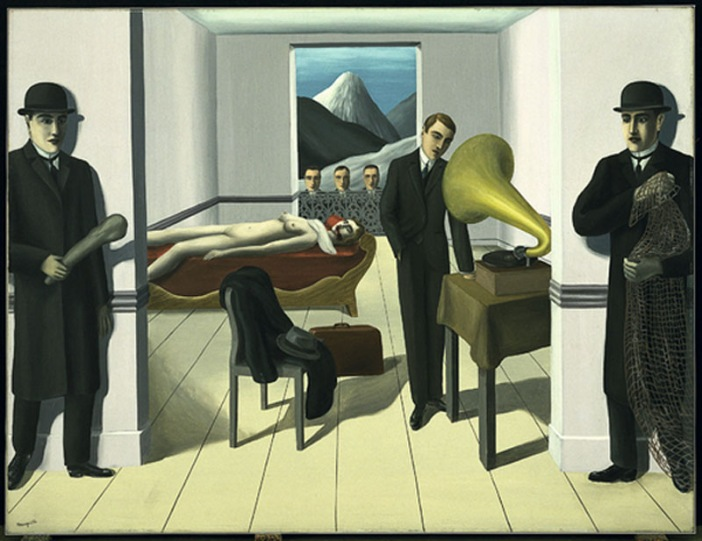 Rene Magritte,  The Menaced Assassin , 1927. Oil on canvas, 150.4 x 195.2 cm. Museum of Modern Art, Tate Liverpool.  http://www.tate.org.uk/context-comment/blogs/rene-magritte-menaced-assassin