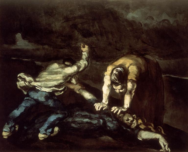 Paul Cezanne, The Murder , 1868. Oil on canvas, 65.5 x 80.7 cm. Walker Art Gallery, Liverpool. https://www.wikiart.org/en/paul-cezanne/the-murder