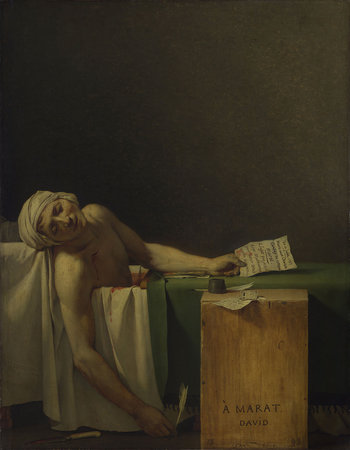 Jacques-Louis David.  The Death of Marat . 1793. Oil on canvas, 165 X 128 cm. Royal Museum of Fine Arts, Belgium.https://www.khanacademy.org/humanities/monarchy-enlightenment/neo-classicism/a/david-and-the-death-of-marat