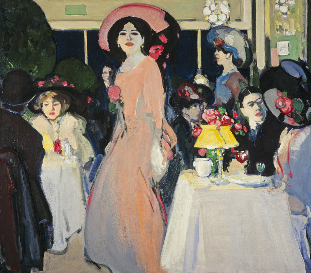 John Duncan Fergusson,  La Terrasse, Café   d'  Harcourt , 1908, Scottish National Gallery of Modern Art, © The Fergusson Gallery, Perth & Kinross Council, Scotland.  https://www.nationalgalleries.org/art-and-artists/59266/la-terrasse-caf%C3%A9-dharcourt