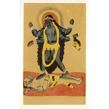 Kali and Shiva.  c.1885, Kolkata, opaque watercolour on paper, 452 x 276mm, Victoria and Albert Museum.   http://collections.vam.ac.uk/item/O432712/kali-and-shiva-painting-unknown/