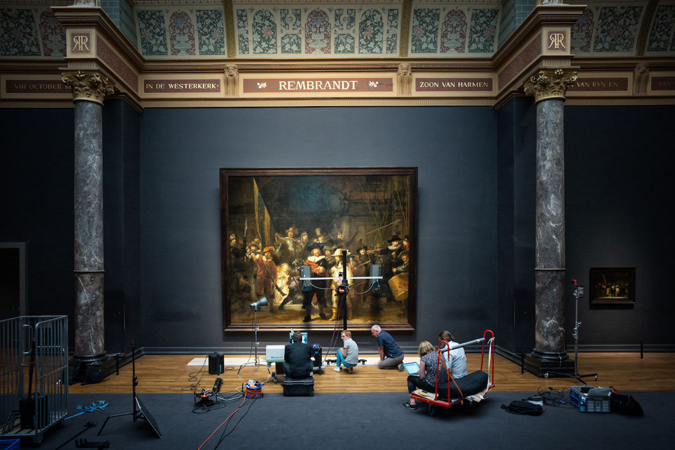 Daniel Maissan, courtesy the Rijksmuseum. Preliminary research on Rembrandt van Rijn's The Night Watch, 1642, 363 cm × 437 cm. Rijksmuseum Amsterdam.   https://www.artsy.net/news/artsy-editorial-rembrandts-the-night-watch-will-remain-public-display-restored