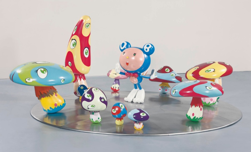 Takashi Murakami,  DOB in the Strange Forest (Blue DOB) , 1999, fiber-reinforced plastic, resin, fiberglass, acrylic and iron, 60 x 152 x 137 in. https://www.christies.com/lotfinder/Lot/takashi-murakami-b-1962-dob-in-5496998-details.aspx