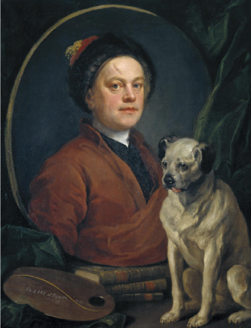 William Hogarth,  The Painter and his Pug,  1745, 90 x 69.9 cm, Tate Britain, London.  https://www.tate.org.uk/art/artworks/hogarth-the-painter-and-his-pug-n00112 .
