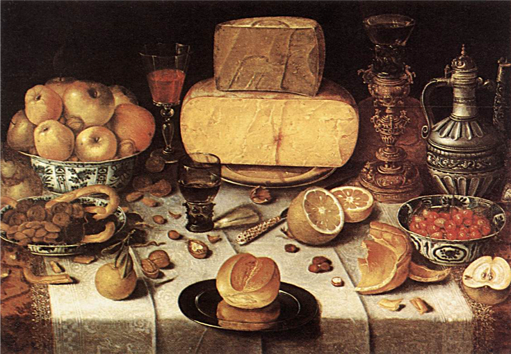 A banquet still life: Nicolaes Gillis,  Laid Table , 1611, oil on wood, 59 x 79 cm, Private collection. https://www.wga.hu/html_m/g/gillis/laidtabl.html