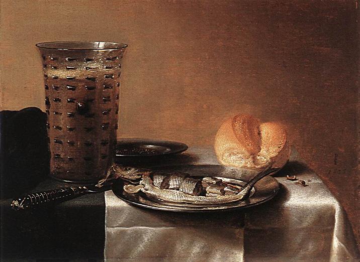 A breakfast still life: Pieter Claesz,  Still Life with Herring , 1636, oil on panel. 100.5 x 119.5 cm, Museum Boijmans Van Beuningen, Rotterdam. https://commons.wikimedia.org/wiki/File:Pieter_Claesz_003.jpg