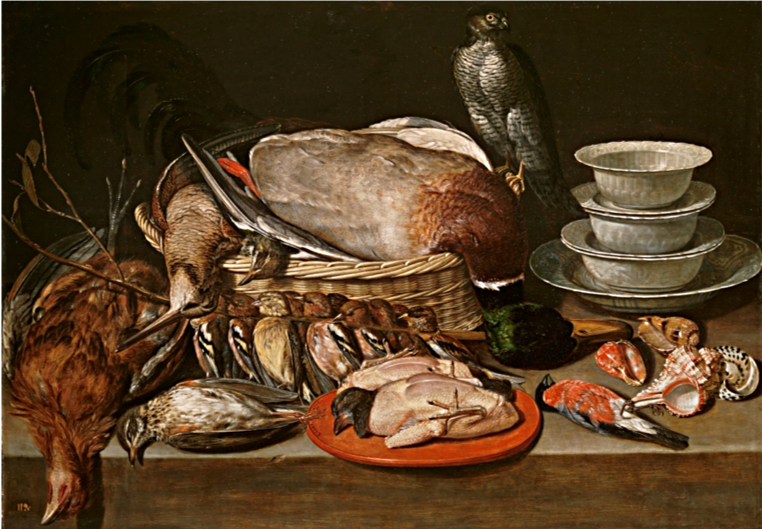 Clara Peeters,  Still Life with Sparrow Hawk, Fowl, Porcelain and Shells , 1611, oil on panel, 52 x 71 cm., Prado, Madrid.   https://www.museodelprado.es/en/the-collection/art-work/still-life-with-sparrow-hawk-fowl-porcelain-and/11137fd7-e7a6-46d0-8345-08172ee26193
