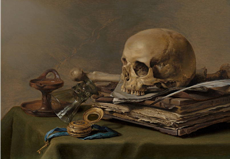 Pieter Claesz,  Vanitas Still Life , 1630, oil on wood panel, 39.5 x 56 cm., Royal Cabinet of Paintings, Mauritshuis, The Hague. https://www.mauritshuis.nl/en/explore/the-collection/artworks/vanitas-still-life-943/detailgegevens/