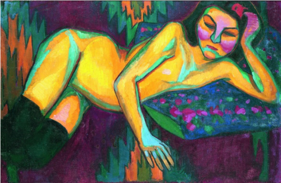 Sonia Delaunay,  Nu Jaune (Yellow Nude) , 1908, Musée des Beaux-Arts de Nantes.    https://www.tate.org.uk/context-comment/articles/we-will-go-right-sun .