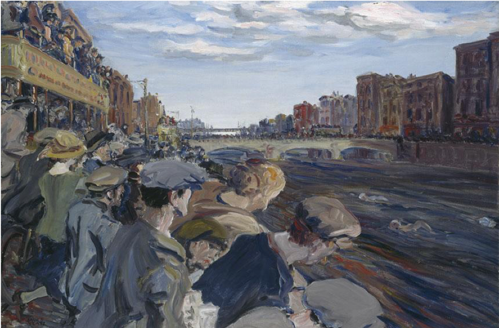 Jack B. Yeats,  The Liffey Swim,  1923, oil on canvas, 61 x 91 cm., National Gallery of Ireland.  http://onlinecollection.nationalgallery.ie/objects/11755/the-liffey-swim?ctx=9098ec1b-9202-4760-b215-a69880f4e590&idx=0