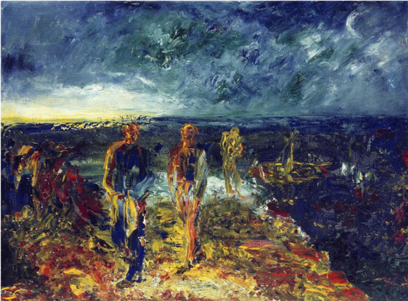 Jack B. Yeats,  Men of Destiny,  1946, Oil on canvas, 51 x 69 cm., National Gallery of Ireland. http://onlinecollection.nationalgallery.ie/objects/1559/men-of-destiny?ctx=ca36e51a-458d-4a22-b4b9-ed266c604fba&idx=10