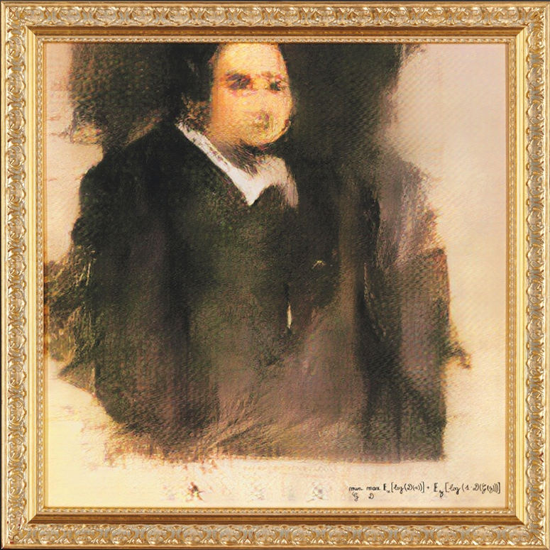 GAN (Generative Adversarial Network), Portrait of Edmond Belamy ,  from La Famille de Belamy, 2018. Created by OBVIOUS. Courtesy of Christie's.  https://www.christies.com/features/A-collaboration-between-two-artists-one-human-one-a-machine-9332-1.aspx