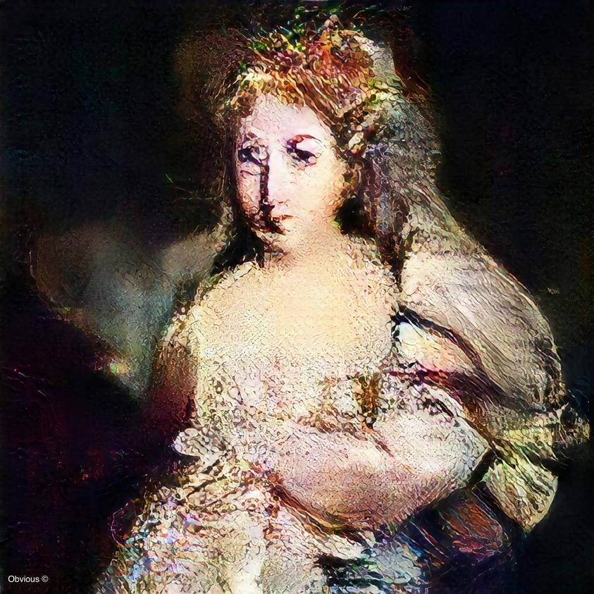 GAN (Generative Adversarial Network), La Comtesse de Belamy, from La Famille de Belamy. Created by OBVIOUS. http://time.com/5357221/obvious-artificial-intelligence-art/