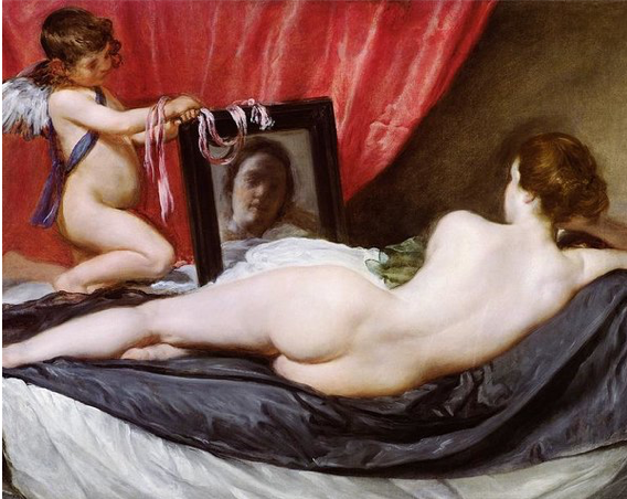 Diego Velazquez,  Rokeby Venus  (1647-51), oil on canvas, National Gallery, London.  https://www.nationalgallery.co.uk/products/the-toilet-of-venus-the-rokeby-venus-print/p_NG2057
